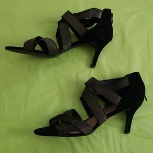 STYLE&CO seleste strappy gold and black heels